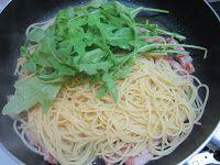 Spaghetti rucola e pancetta