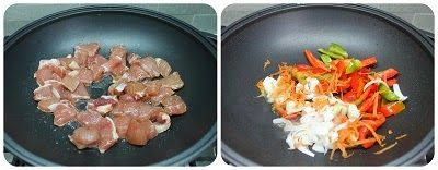 cottura carne e verdure nel wok