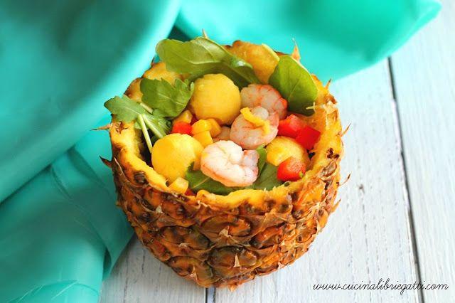 Insalata di ananas e gamberi