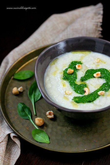 zuppa topinambur pesto spinaci