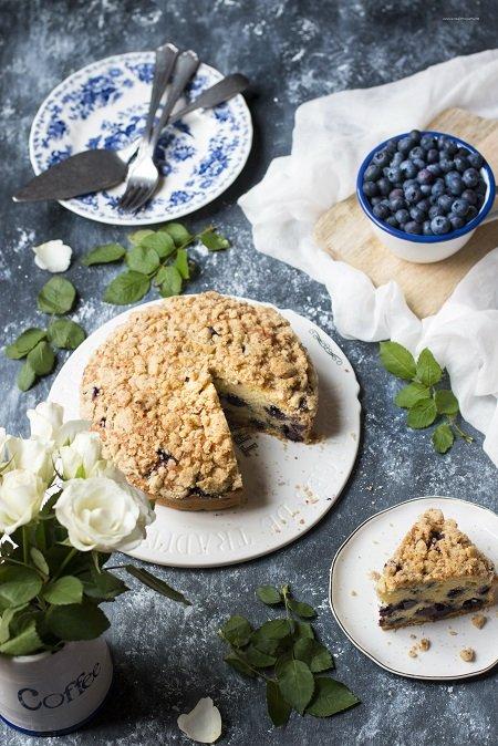 torta con la ricotta e mirtilli